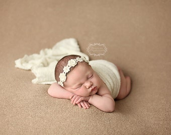 Newborn Flower Halo, Newborn Headband, Cream, Flower Headband, Photo Prop