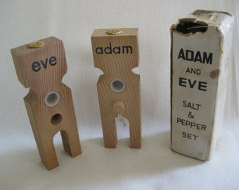 Vintage Adam and Eve Naughty Salt and Pepper Shakers by Apex