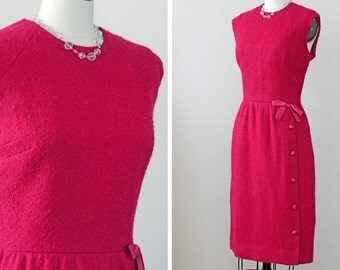 SALE 1960s Wiggle Dress / 60s Boucle Dress // The Peak-a-Bow Dress