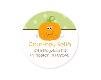 Personalized Pumpkin Address Label - DIY Printable Digital File