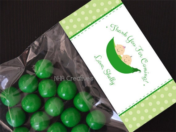 personalized twins baby shower treat bag topper two peas in
