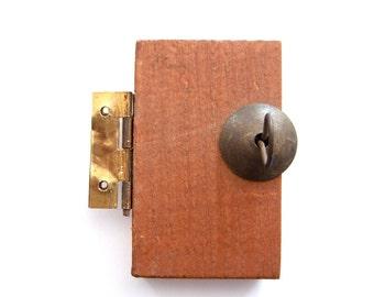 Vintage Miniature Wood Door with Hinge and Wire Turn Lock No. 1