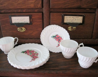 Cute Vintage White and Pink Plastic Floral Children's Dishes