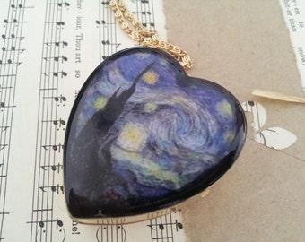 Heart Shaped Music Box Locket necklace Starry Night