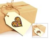 Printable Kente Heart & Africa Gift Tags  - 12 total per sheet - DIY Digital Download PDF File - 8.5x11
