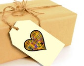 Printable Kente Heart Gift Tags - 12 total per sheet - DIY Digital Download PDF File - 8.5x11