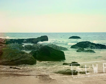 IN STOCK California Beach, Rocky Coastal Landscape, Pacific Ocean Tide Rising, 8x12 Fine Art Photograph Home Wall Decor