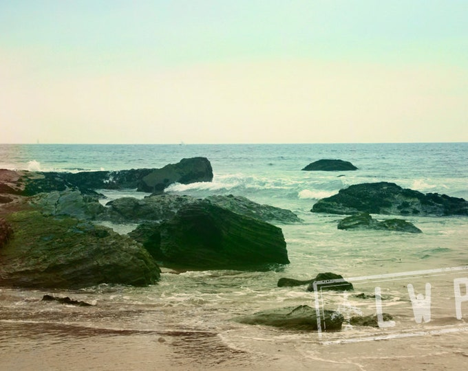 IN STOCK California Beach, Rocky Coastal Landscape, Pacific Ocean Tide Rising, 8x12 Fine Art Photograph Home Wall Decor