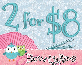 Bowtykes Crochet Pattern Combo Pack - any 2 for 8.00