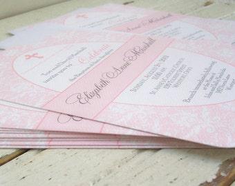 Printed Baby Girl Baptism Invitation in Pink and White Damask - Elegant Baptism Invites for a Girl Christening, Dedication