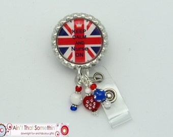 Union Jack Keep Calm and Nurse On Retractable Badge Reel - British Badge Clip - Union Jack Nurse Gift - Creative Badge Reels - Designer IDs