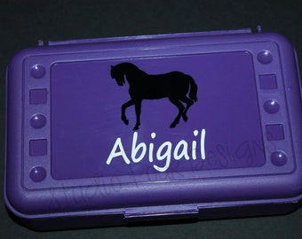 Personalized HORSE Pencil Box/ Art Supply Holder - Back to School - Assorted Colors/Designs
