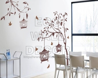 PEEL and STICK Kids Nursery Removable Vinyl Wall Sticker Mural Decal Art - Brown Birdcages and Growing Trees