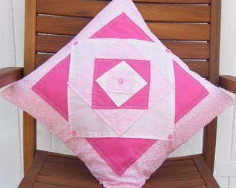 Pinks abstract appliqued cushion cover 16in x 16in, Throw pillow,pillow sham, diamond pattern with buttons.