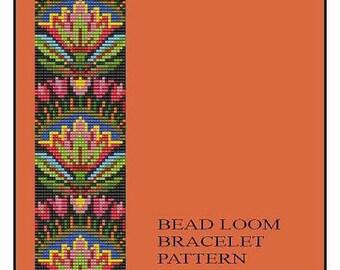 Bead Loom Folk Art Flowers Motif 1 Bracelet Pattern PDF