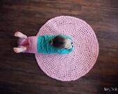 Crochet Rug Ballerina Pink Cotton Round Rug