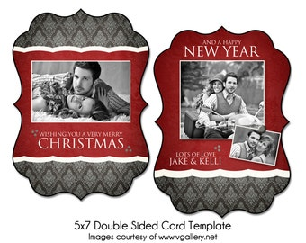 Christmas Card Template - WRAPPED IN RED - 5x7 Double Sided Card Template