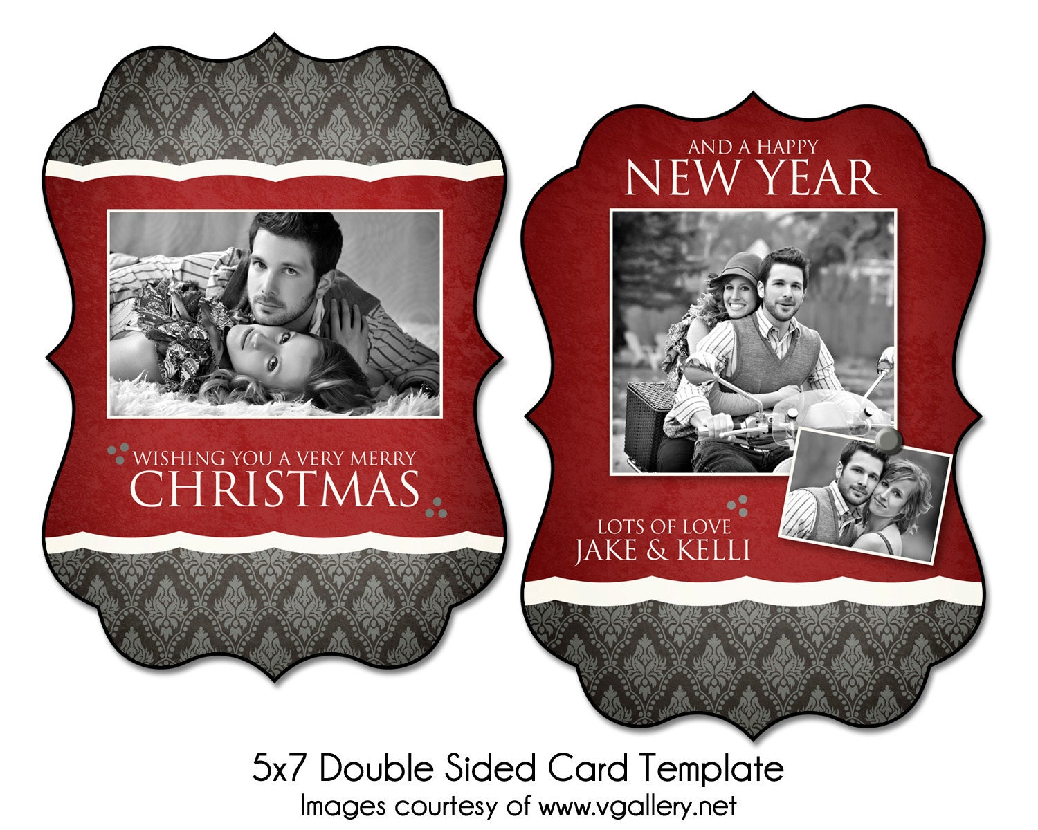 christmas card template wrapped in red 5x7 double sided. Black Bedroom Furniture Sets. Home Design Ideas