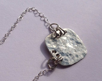 Simple Hammered Sterling Silver Necklace, Everyday Necklace