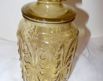 Amber Glass Canister Atterbury Imperial Vintage