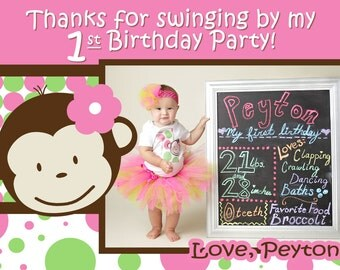 Monkey Invitation Birthday Monkey Party Invitations Monkey - Birthday invitation 1 year old baby girl