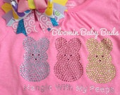 Easter bunnies rhinestone shirt - you choose color and size