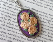Hand Embroidered Pendant, Peach Roses on Lavender Silk - Silk Ribbon Embroidery by BeanTown Embroidery