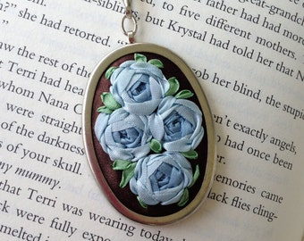 Embroidered Rose Pendant Blue and Brown - Silk Ribbon Embroidery by BeanTown Embroidery