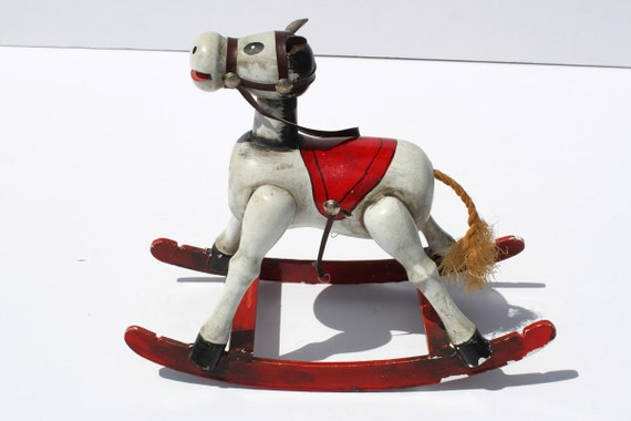 Vintage Rocking Horse Wooden Musical Horse Enseco Music Box
