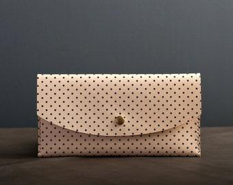 Navy Dot Leather Clutch