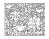Hearts and Flowers Coloring Page, Zentangle Inspired, Zendoodle Page 45