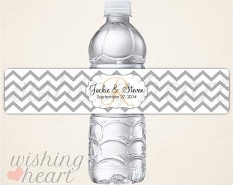 Personalized Chevron Monogram Waterproof Water Bottle Labels for Wedding or Bridal Shower - 100 Water Bottle Labels