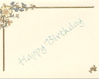 Hand embossed birthday card in cream
