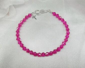 Hot Pink Bracelet Crystal Bracelet Silver Cross Bracelet Fuschia Bracelet 100% 925 Sterling Silver Bracelet BuyAny3+Get1Free
