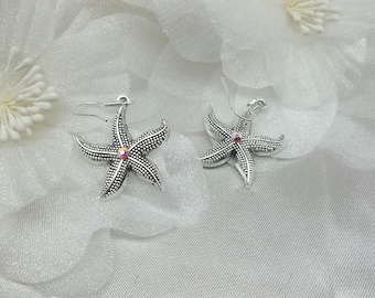 Starfish Earrings with Swarovski Crystal Dangle Earrings 925 Sterling Silver Earrings Star Fish Earrings BuyAny3+Get1Free