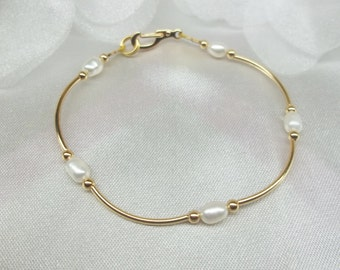 14k Gold White Pearl Bracelet 14k Gold Pearl Bracelet Bridesmaid Bracelet 14k Gold Filled Bracelet Bridesmaid Gift BuyAny3+Get1 Free