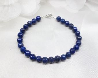 Blue Lapis Bracelet Blue Lapis Lazuli Bracelet Blue Lapis Strand Simple Sterling Silver 14k gold filled or Solid 14k Gold BuyAny3+Get1 Free