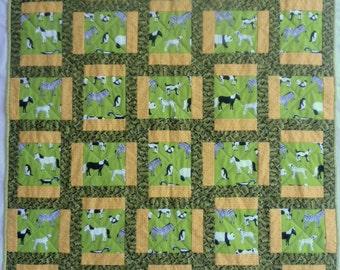 Animal Quilt, Green Quilt, Yellow Quilt, Barnyard Animal Quilt, Panda Quilt, Penguin Quilt, Zebra Quilt, Dog Quilt