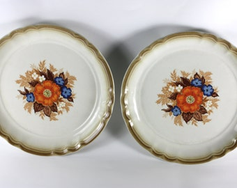 Manor House Medley Plates, Set of Two, Vintage Ceramic Dinnerware, Made in Japan