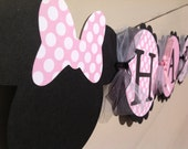 Baby Minnie Mouse Inspired Happy Birthday Banner Light Pink With Polka Dots and Black