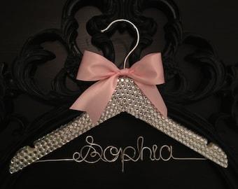 Bling Rhinestone Hanger / BLING Kids Hanger / Children's Personalized Hanger / Baby Shower Gift / Flower Girl Hanger / Flower Girl Gift