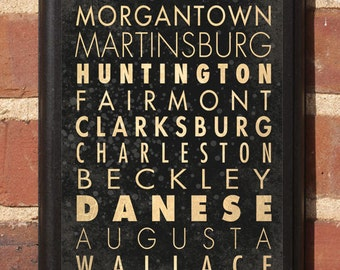 West Virginia WV Cities Wall Art Sign Plaque, Gift Present, Personalized Color, Custom Location, Home Decor, Vintage Style, Classic