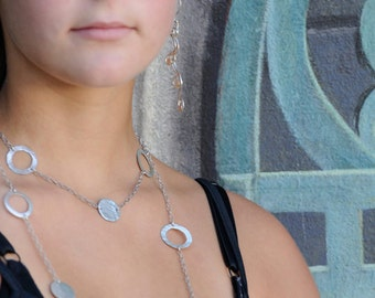Chain Necklace - Long Chain Necklace - Circle Necklace - Sterling Silver Chain - Silver Chain Necklace