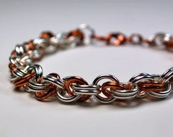 Chainmaille Bracelet - Sterling Silver and Copper - Chainmaille Jewelry