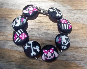 Pink Bunny Skull & Cross Bones Button Bracelet