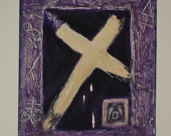 CANVAS PAINTING Acrylic Canvas Cross Art original Painting Mixed Painting Textured Painting Alchemy Spiritual Art