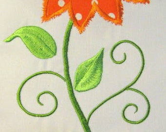 Vintage Flower 09 Machine Applique Embroidery Design - 5x7 & 6x8