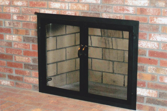 Black Wrought Iron Attached Fireplace Mesh Door Screens For