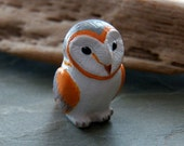 25X16mm Barn Owl Ceramic Handcrafted Animal Pendant - Bead, 1 PIECE (INDOC599)