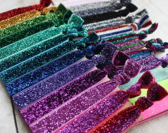 Glitter Elastic Hair Ties - You Pick the Colors - by Couture Flower